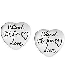 Women's Blind for Love Sterling Silver Heart Stud Earrings