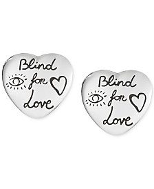 Gucci Women's Blind for Love Sterling Silver Heart Stud Earrings YBD45525500100U