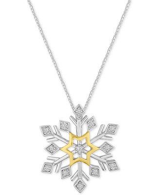 Macy's Diamond Snowflake Pendant Necklace (1/10 ct. t.w