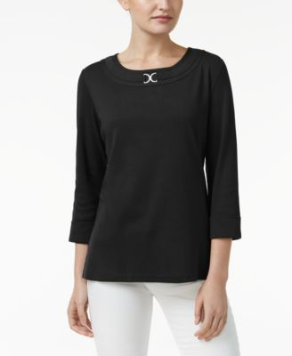 Image of Karen Scott Three-Quarter-Sleeve Top, Only at Macy's
