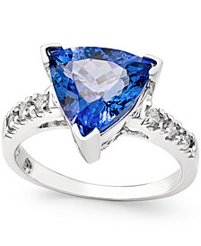 Tanzanite (3-1/2 ct. t.w.) and Diamond (1/6 ct. t.w.) Ring in 14k White Gold