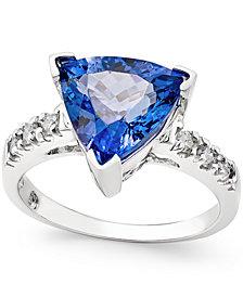 Tanzanite (3-1/2 ct. t.w.) and Diamond (1/6 ct. t.w.) Ring in 14k White Gold
