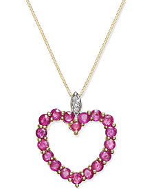 Ruby (1-3/4 ct. t.w.) and Diamond Accent Heart Pendant Necklace in 14k Gold