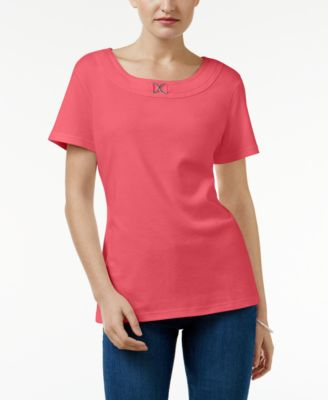 Image of Karen Scott Buckle-Trim T-Shirt, Created for Macy's