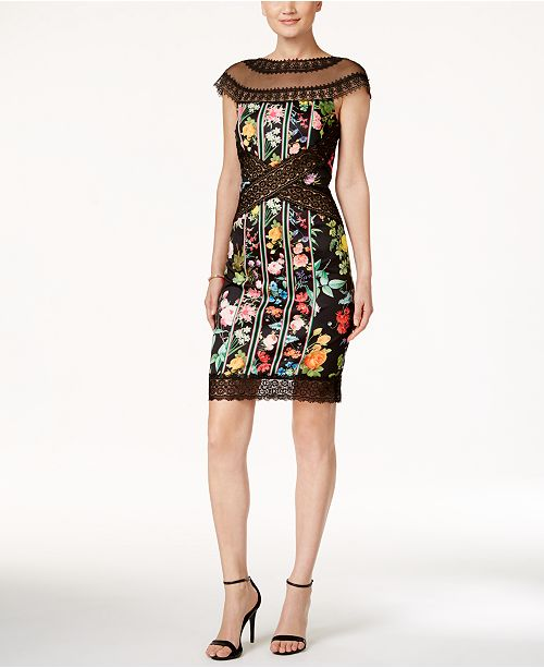 d104870202b Tadashi Shoji Lace-Trim Floral-Print Sheath Dress   Reviews ...