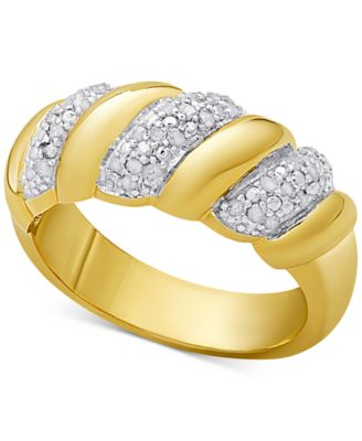 Diamond San Marco Ring 14 ct tw in Sterling Silver 18K Gold