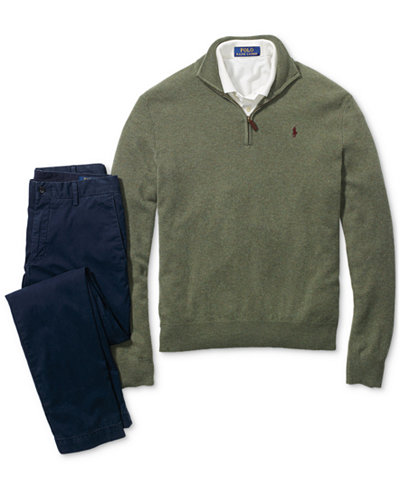 Polo Ralph Lauren Men's Classic-Fit Polo, Half-Zip Sweater & Straight-Fit Chino Pants