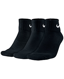 Nike Men's Socks, Cotton Cushion Quarter Extended Size 3-Pack
