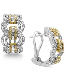 Duo by EFFY® Diamond Hoop Earrings (1-1/5 ct. t.w.) in 14k Gold and White Gold