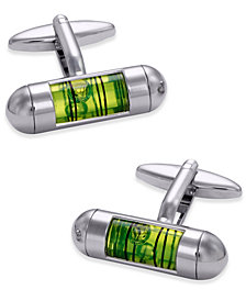 Sutton by Rhona Sutton Men's Stainless Steel Green Level Tube Cuff Links