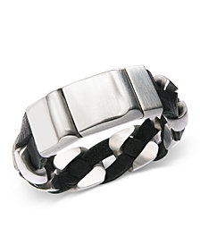 Sutton by Rhona Sutton Stainless Steel and Black Leather Chain Bracelet