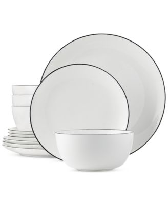 Black Line 12-Piece Dinnerware Set Service for 4 Created for Macyu0027s  sc 1 st  Macyu0027s & Hotel Collection Black Line Dinnerware Collection Created for ...