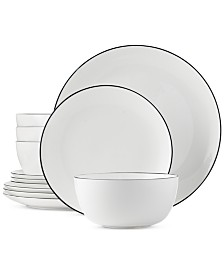 Hotel Collection Black Line 12-Piece Dinnerware Set, Service for 4, Created for Macy's