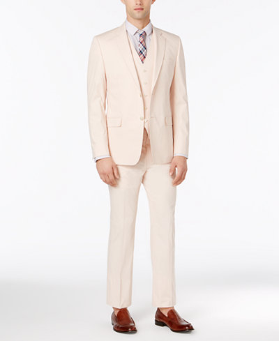 Lauren Ralph Lauren Men's Solid Pink Slim-Fit Vested Suit - Suits ...
