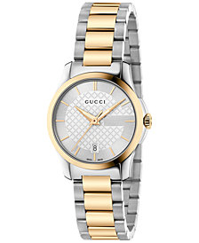 Gucci Women's Swiss G-Timeless Two-Tone PVD Stainless Steel Bracelet Watch 27mm YA126563