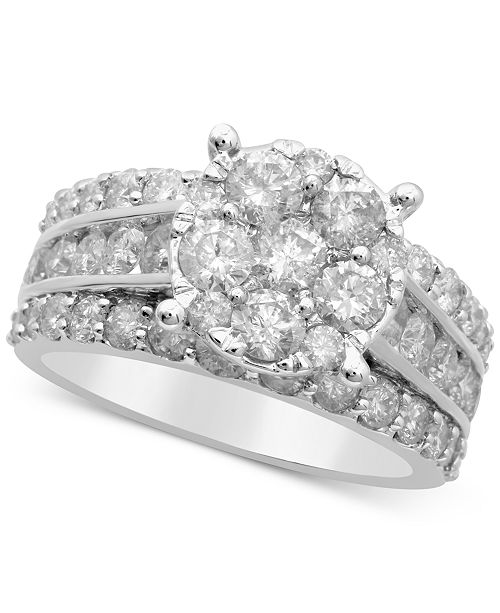3fb633bd3 t.w.) in 14k White Gold; Macy's Diamond Cluster Engagement Ring (3 ct.