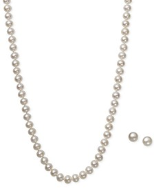 White Cultured Freshwater Pearl (6mm) Necklace and Matching Stud (7-1/2mm) Earrings Set in Sterling Silver