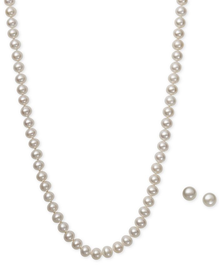 Macy's - White Cultured Freshwater Pearl (6mm) Necklace and Matching Stud (7-1/2mm) Earrings Set