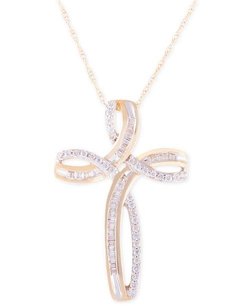 Macy's Diamond Cross Pendant Necklace (1/4 ct. t.w.) in 14K Gold