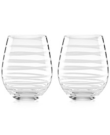kate spade new york Charlotte Street Collection 2-Pc. Stemless Wine Glasses Set