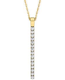 Line Of Love Diamond Pendant Necklace (1/2 ct. t.w.) in 14k White Gold