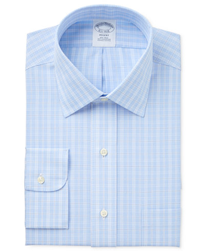 Brooks Brothers Men's Regent Classic/Regular Fit Non-Iron Light Blue Checked Dress Shirt