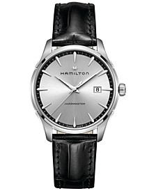 Men's Swiss Jazzmaster Black Leather Strap Watch 40mm H32451751
