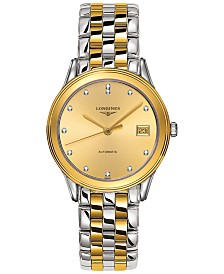 Longines Unisex Swiss Automatic Flagship Diamond Accent Two-Tone PVD Stainless Steel Bracelet Watch 36mm L47743377
