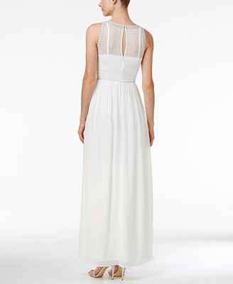 Adrianna Papell Beaded A Line Gown Dresses Women Macys