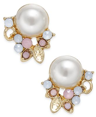 Catherine Stein for INC International Concepts Gold-Tone Imitation Pearl Stud Earrings, Only at Macy's