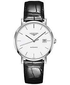 Longines Men's Swiss Automatic Elegant Collection Black Alligator Leather Strap Watch 39mm L49104122