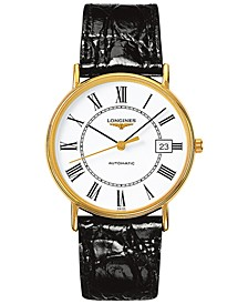 Men's Swiss Automatic Le Grande Classic Presence Black Leather Strap Watch 38mm L49212112