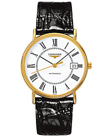 Longines Men's Swiss Automatic Le Grande Classic Presence Black Leather Strap Watch 38mm L49212112