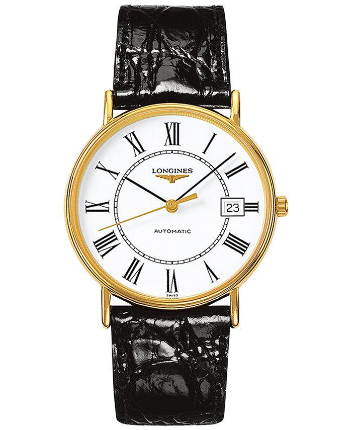 Longines - Men's Swiss Automatic Le Grande Classic Presence Black Leather Strap Watch 38mm L49212112