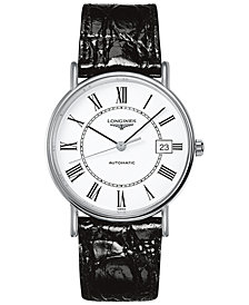 Longines Men's Swiss Automatic Le Grande Classique Black Leather Strap Watch 38mm L49214112