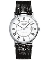 dbde1b9e1 Longines Men's Swiss Automatic Le Grande Classique Black Leather Strap Watch  38mm L49214112