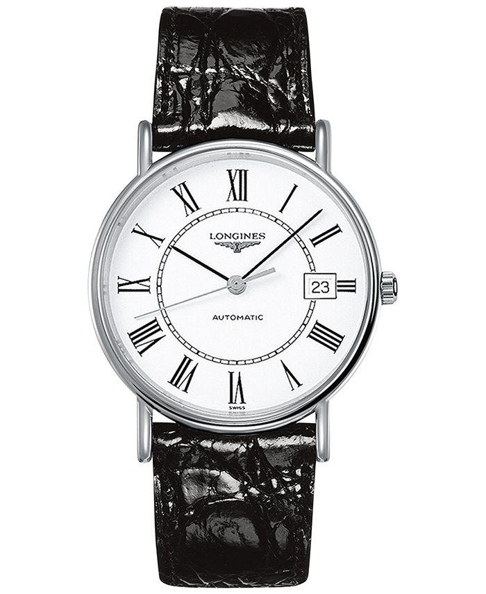 Longines - Men's Swiss Automatic Le Grande Classique Black Leather Strap Watch 38mm L49214112