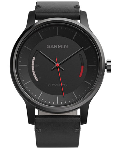 Garmin Women's V�vomove Classic Black Leather Strap Activity Tracking Smart Watch 42mm 010-01597-12
