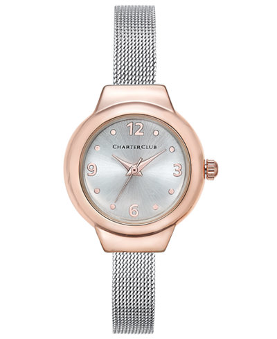 Charter Club Women's Silver-Tone Mesh Bracelet Watch 25mm, Only at Macy's