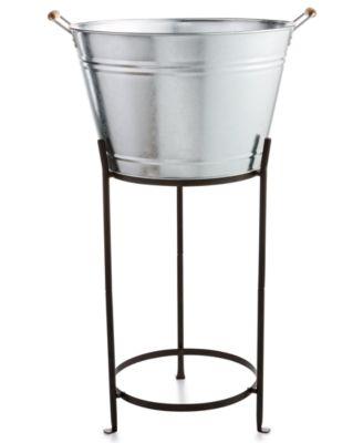 Martha Stewart Collection Galvanized Beverage Tub with Stand