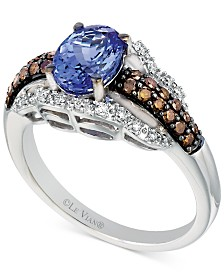 Le Vian Chocolatier® Tanzanite (1 ct. t.w.) and Diamond (3/8 ct. t.w.) Ring in 14k White Gold