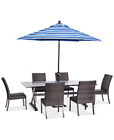 "CLOSEOUT! Savannah Outdoor 7-Pc. Dining Set (84"" x 42"" Rectangle Dining Table & 6 Armless Dining Chairs), Created for Macy's"