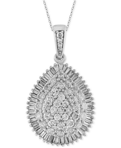 Diamond Cluster Teardrop Pendant Necklace (2 ct. t.w.) in 14k White Gold