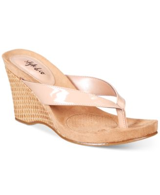 Image of Style & Co Chicklet Wedge Thong Sandals, Only at Macy's
