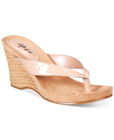 Style Amp Co Chicklet Wedge Thong Sandals Created For Macy