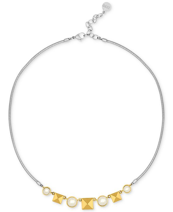 Majorica Two-Tone Imitation Pearl and Pyramid Collar Necklace