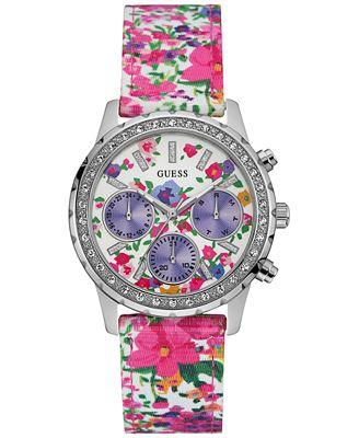 GUESS Women's Multicolor Floral Nylon Strap Watch 38mm U0903L1