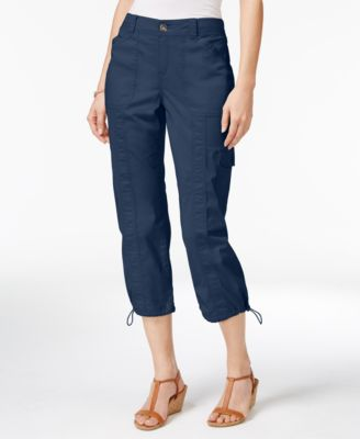 Image of Style & Co Petite Bungee-Hem Cargo Capri Pants, Only at Macy's