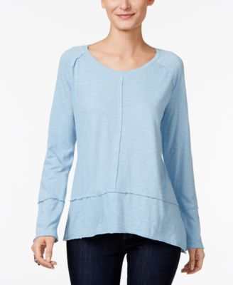 Image of Style & Co Raw-Edge Scoop-Neck Top, Only at Macy's