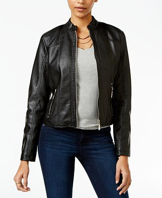 Jou Jou Juniors' Perforated Faux-Leather Jacket